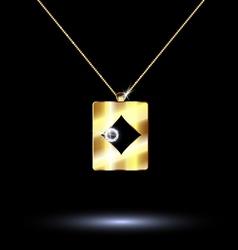pendant card suit diamonds vector image