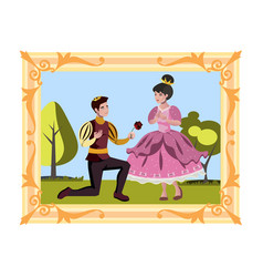 prince and princess in the picture vector image vector image