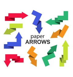 Set of multi-colored paper arrows vector image