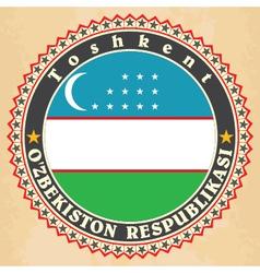 Vintage label cards of uzbekistan flag vector
