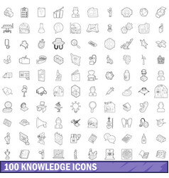 100 knowledge icons set outline style vector