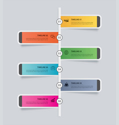 6 infographic timeline rectangle template vector image