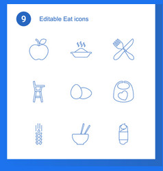 9 eat icons vector