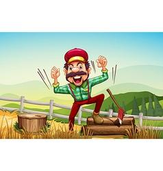 A happy woodman at the hilltop vector