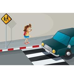 A little girl near the pedestrian lane vector