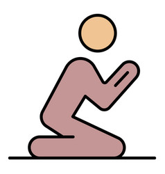 A man praying on his knees icon color outline vector