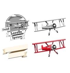 Airplane logo and ribbon vector