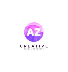 Az initial logo with colorful circle template vector