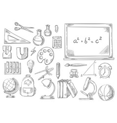 Back to school study supplies sketch icons vector