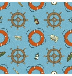 Blue Marine Seamless Pattern vector