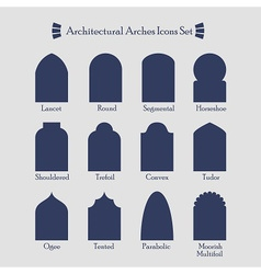 Blue silhouette architectural arches icons set vector