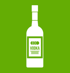 bottle of vodka icon green vector image