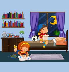 Boy and girl doing homework in bedroom vector