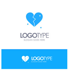 broken love heart wedding blue solid logo with vector image