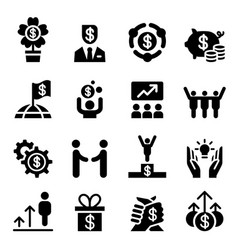 Business success icon set vector