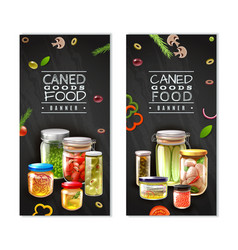 Canned food vertical banners vector