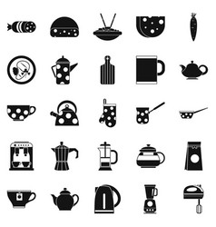 Canteen icons set simple style vector