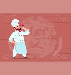 chef cook happy smiling cartoon restaurant chief vector image