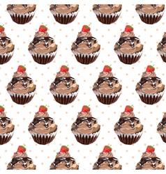 Chocolate cupcake pattern vector image
