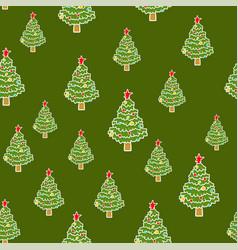 christmas tree pattern seamless xmas background vector image