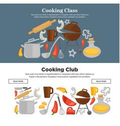 Cooking school kitchenware web banners vector