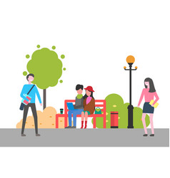 couple sitting on bench in park outdoors activity vector image