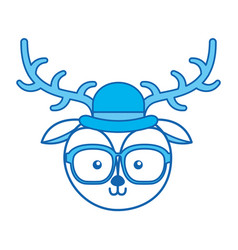 cute blue icon vintage deer face cartoon vector image