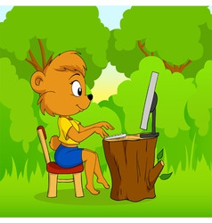 cute female bear typing on computer in forest vector image vector image