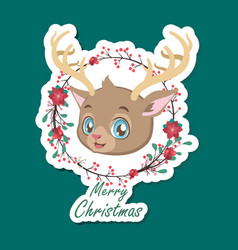 cute festive christmas reindeer sticker vector image