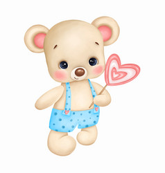 Cute teddy bear in blue overalls with candy heart vector