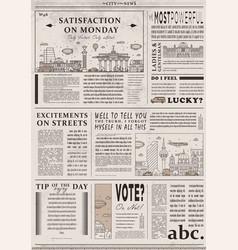Design of old vintage newspaper template vector
