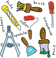 Drawn colored working tools with roller vector