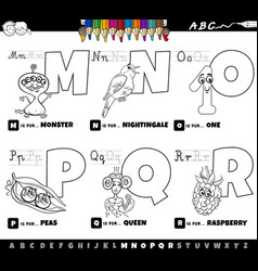 Educational cartoon alphabet letters set from m vector