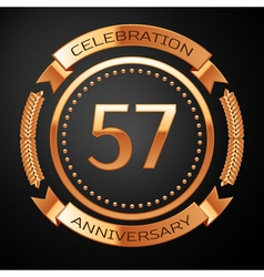 Fifty seven years anniversary celebration with vector image