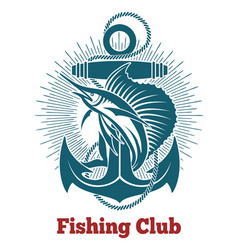fishing club retro emblem vector image