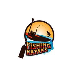 Fishing kayaks logo symbol icon vector
