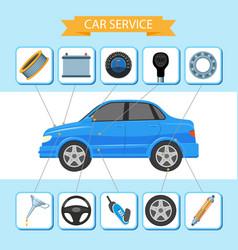 flat car service inforgaphic icons set vector image