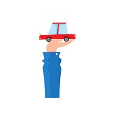 flat man hand holding sedan car vector image