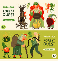 forest fairy tale characters banners set vector image