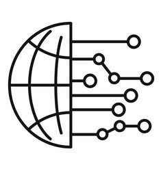 global artificial intelligence icon outline style vector image