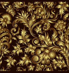 gold pattern on black background with hand vector image