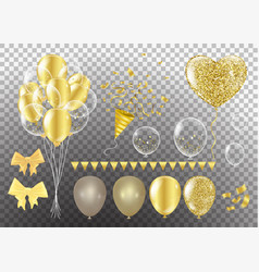 Golden balloons in the shape of a heart on a vector