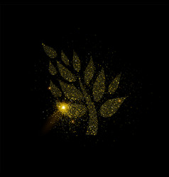 golden tree made of gold glitter dust vector image