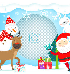 greeting card with christmas characters template vector image