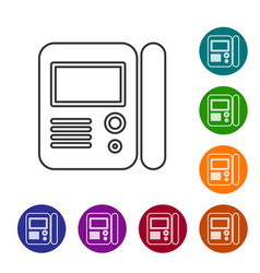 Grey line house intercom system icon isolated on vector