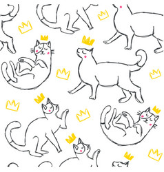 hand drawn funny cats with hearts in sketch style vector image