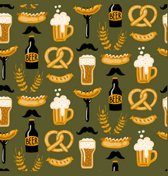 hand drawn seamless pattern with beer and food vector image
