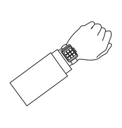 Hand man business smart watch apps gadget vector