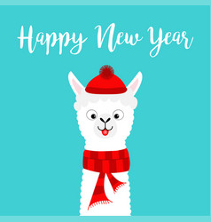 Happy new year llama alpaca baby face neck santa vector