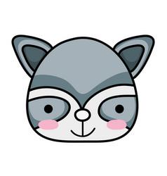Happy raccoon head wild animal vector